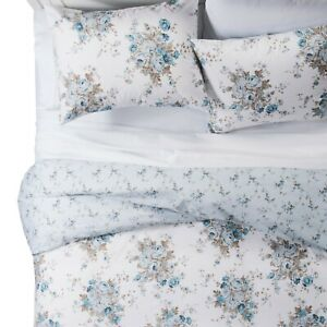Simply Shabby Chic Aqua Rose Floral Twin Duvet with Sham NEW