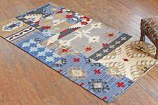Taluche Hand-made Multi-Color Pure Authentic Kilim Woolen Area Rug/Tapis/Carpet