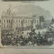 1850's The Queen leaving Buckingham Palace/Barnum's Mammoth tent, VTG Etchings