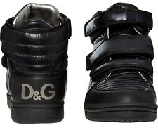 DOLCE GABBANA DG Black Padded Leather High Top Trainers Boots Shoes UK6 US7 EU40