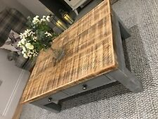HANDMADE WOODEN COFFEE TABLE WITH DRAWERS ~ DISTRESSED GREY - NEW
