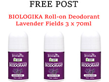 3 x 70ml BIOLOGIKA Lavender Fields Roll On Deodorant  * FREE POST