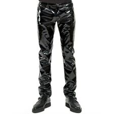 Men Faux Leather PVC Pants Trousers Long Shiny Club Dance Wear Punk Gothic Black