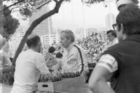 Photo John Surtees + Stirling Moss talking 1969 Monaco F1 GP Grand Prix