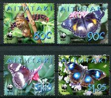 Aitutaki 2008 Endangered Blue Moon Butterflies set of 4 with WWF Logo MNH