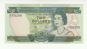 Solomon Islands 2 dollars 1977 AUNC- QEII @ low start