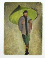 Vintage Israeli Artist BAR DAVID Double Sided Signed Painting Oil on Wood