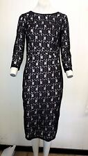 Gorgeous Black Pink Lined Lace Style Dress from Dorthy Perkins - Size 12