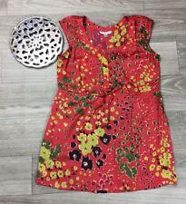 CAbi size small floral orange Women's Blouse Sleeveless Spring Top Shirt Tunic