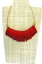 Handmade Wooden Tribal Statement Necklace Poinciana Red/Beige Adjustable Length