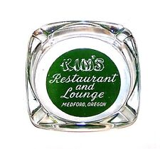 Vintage 60s Kim's Restaurant Lounge Medford Oregon Glass Advertsing Ashtray Ofr