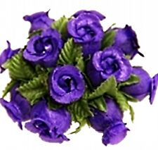 144 Miniature Poly Rose Silk Favor Flower Pick Wedding Shower - Purple