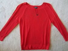 WOMENS EXPRESS RED 3/4 Sleeve Sweater MESH KNIT TOP STRETCH SHIRT XSMALL XS NEW