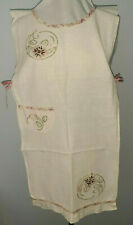 Vintage Bib Apron Fabric Pink Green Pullover Pocket Embroidery Applique Floral