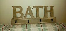 """GISELA GRAHAM Wooden Bathroom Hanging Hook Rack """"BATH""""  TOWELS , TOILETRY BAGS"""