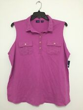 Basic Editions Plus Size Purple/Pink Crochet Button Tank Top Shirt Blouse 1X NWT