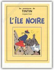 Affiche Serigraphie BD HERGE Tintin Ile Noire 60x80 cm