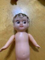 "Vintage 7"" Plastic Doll Girl  Bobbed Hair Antique P101"
