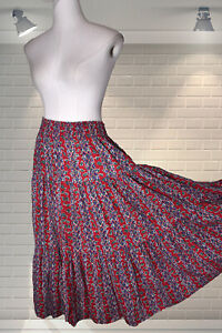 Vintage 1980s Laura Ashley Cotton Tiered Prairie Elasticated Skirt - Size Small