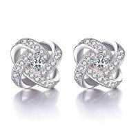 Solid 925 Silver Austria Crystal Ear Stud Earrings fashion jewelry Xmas gift