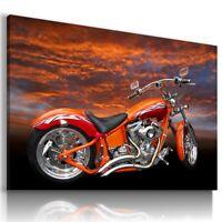 HARLEY DAVIDSON ORANGE MOTOR BIKE SUNSET Large Wall Canvas ART HD49  MATAGA