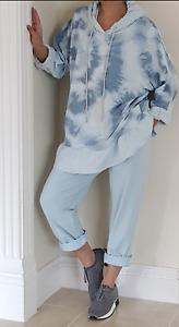 Hoodie Joggers Lounge Wear 2 Pcs Loungewear Pale Blue Frilled Comfy 12 14 16