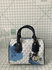 NWT Michael Kors Aria Small Satchel Vanilla Signature Navy Floral Purse