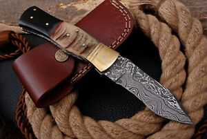 Custom Handmade DAMASCUS STEEL FOLDING Blade POCKET KNIFE / InnerLock + Sheath