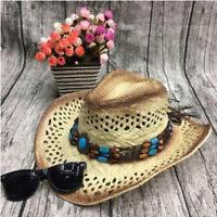 1 Pc Unisex Women Men Straw Cowboy Hat Handmade With Wired Brim Sunhat Fashion