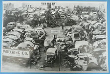 """12 By 18"""" Black & White Picture About 1941 Old Wrecking Yard"""