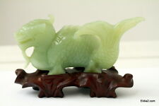 Antique Chinese Green  Jade Dragon Serpent  with Stand