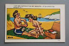 R&L Postcard: Comic, Sapphire 172 Quip, Beach Picnic Couple Champagne Bottle