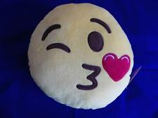 BLOWING KISS AND WINKING EMOJI PLUSH CUSHION