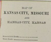 "KANSAS CITY MISSOURI 1900 Vintage City Atlas Map 11""x14"" Old Antique WESTWOOD"