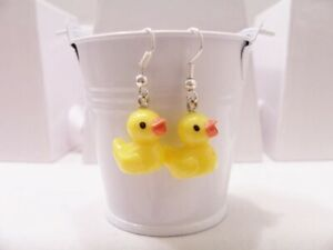 Yellow Plastic Ducky Earrings Ducky Jewelry Yellow Duck Earrings Ducky Charms