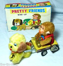 MM TOYS JAPAN CLOCKWORK PRETTY FRIENDS DOG TIN PLATE LOG CART & CYMBALS MONKEY