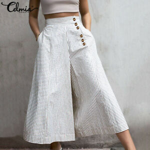 UK Women Trousers Elastic Waist  Culottes Palazzo Baggy Pants Wide Leg Size 8-26