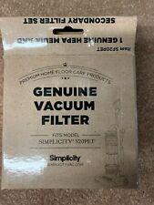 Simplicity vacuum cleaner bagless Pet  S20PET Media HEPA & Secondary Filter Set
