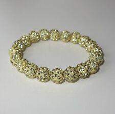A392 - Shamballa Armband - NEU - Gelb Strass Steine Perlen Glitzer Girl Sommer
