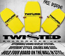 Body Board Wall Storage Display Racks 3 pc Set Any Angle or Height Black Wood