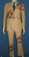 vtg 50s Brown Wool EDWARDS Suit Sparrow Bird Emblem jacket 36 XS Pants 29x29.5