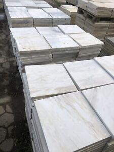 Terrassenplatten Marmor Weiß Grau Creme 40x40x3cm  Natursteinplatten 1qm