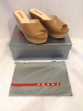 NEW BOX  PRADA Camel Tan Leather Cork Wedge Banded Slides Sandals 39.5 MSRP $525