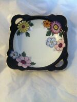 "art deco floral black border square handpainted nippon bowl pierced handle  6 """