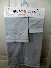 Three piece Towel set BLESSED, THANKFUL, GRATEFUL machine embroidered