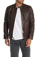JOHN VARVATOS Star USA New Racer Sheep Leather Jacket 2XL XXL Dark Brown $648
