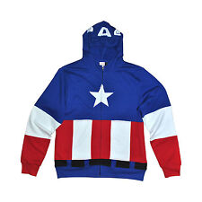 Men's Marvel Captain America Sweatshirt Hooded Hoodie Costume Fleece Blue Medium