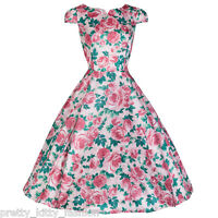 PRETTY KITTY PINK FLORAL SWING ROCKABILLY COCKTAIL PROM DRESS 8-20 FREE UK POST!