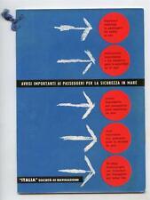 Vintage 1950s ITALIA LINE Passenger Saftety Manual 5 Languages Cruise Ship