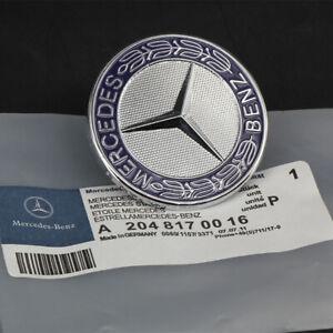 57MM  For Mercedes Benz C E SL Class Blue Metal Flat Hood Emblem Ornament Logo
